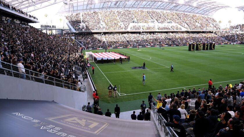 The National Anthem is played before the inaugural LAFC home game against the Seattle Sounders at Banc of California Stadium.