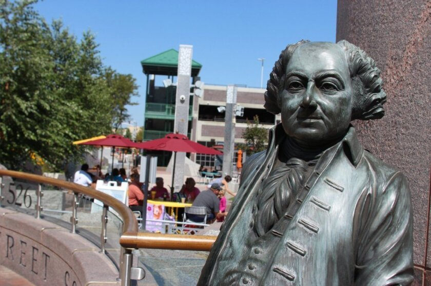 A bronze statue of John Adams, second president of the United States, in Rapid City, S.D.
