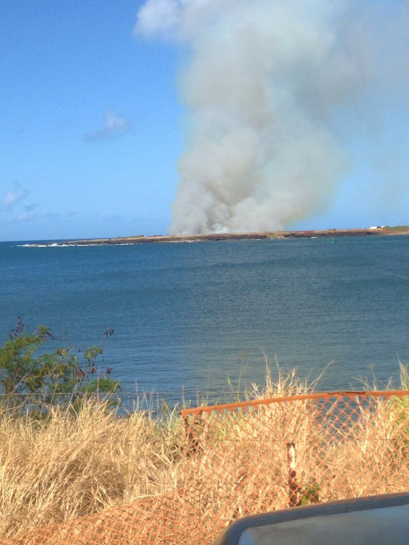 FILE - In this Monday, May 23, 2016 file photo, plumes of smoke are seen from Port Allen Harbor across an inlet after a plane crashes just outside Port Allen Airport on the island of Kauai. Five people died after a skydiving tour plane crashed and caught fire in Hawaii, an uncommon way for visitors