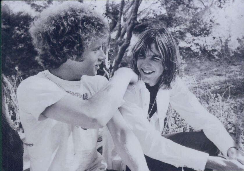 A photo taken about 1969 shows Flying Burrito Brothers co-founder Chris Hillman, left, and singer Gram Parsons in Topanga Canyon.