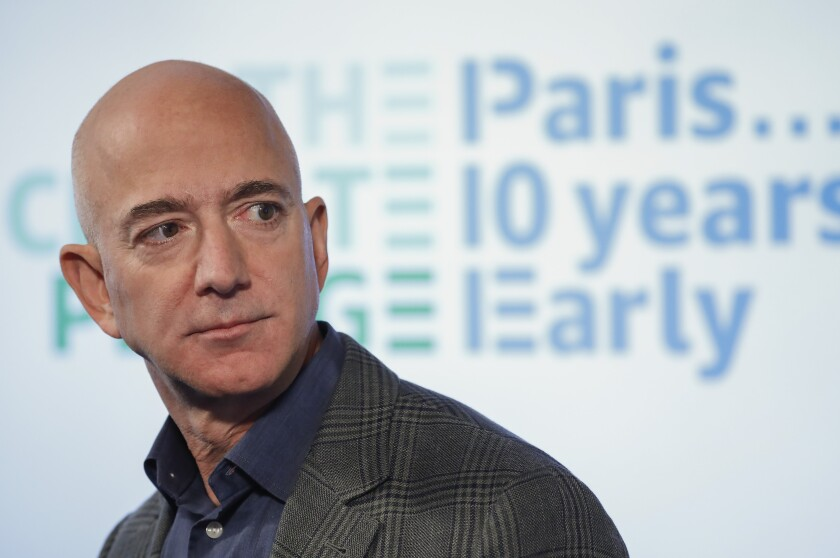FILE - In this Sept. 19, 2019, file photo, Amazon CEO Jeff Bezos speaks during his news conference at the National Press Club in Washington. Amazon said Tuesday, Feb. 2, 2021, that Bezos is stepping down as CEO later in the year, a role he's had since he founded the company nearly 30 years ago. (AP Photo/Pablo Martinez Monsivais, File)