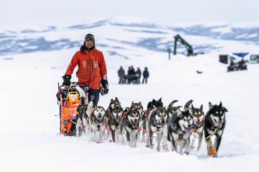Thomas Waerner mushes into Unalakleet, Alaska, Sunday, March 15, 2020 during the Iditarod Trail Sled Dog Race. (Loren Holmes/Anchorage Daily News via AP)