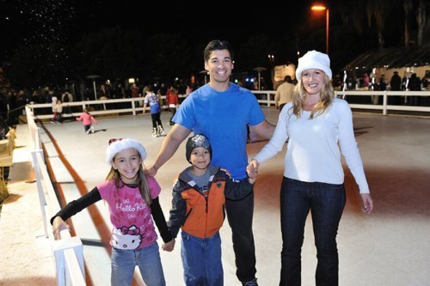 The Castanos family tries the skating rink.