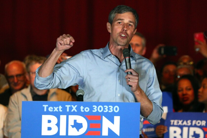 For Texas Rep. Beto O'Rourke endorses Democratic presidential candidate former Vice President Joe Biden at a campaign rally Monday, March 2, 2020 in Dallas. (AP Photo/Richard W. Rodriguez)