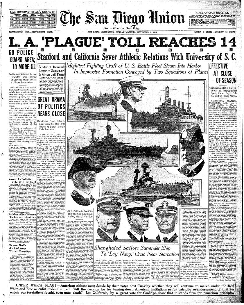 November 2, 1924 Union front page