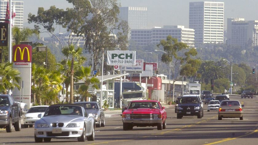 Traffic travels along the roughly 1-mile section of West Coast Highway in Newport Beach known as Mar