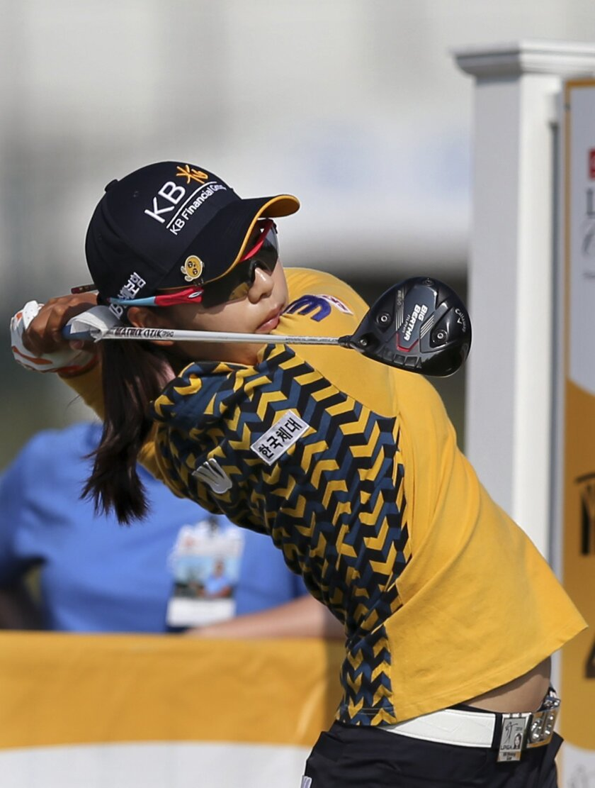 Mi Hyang Lee of South Korea, hits a tee shot on the fourth hole of the second round of the ShopRite LPGA Classic golf tournament, Saturday, June 4, 2016, in Galloway Township, N.J. (AP Photo/Mel Evans)