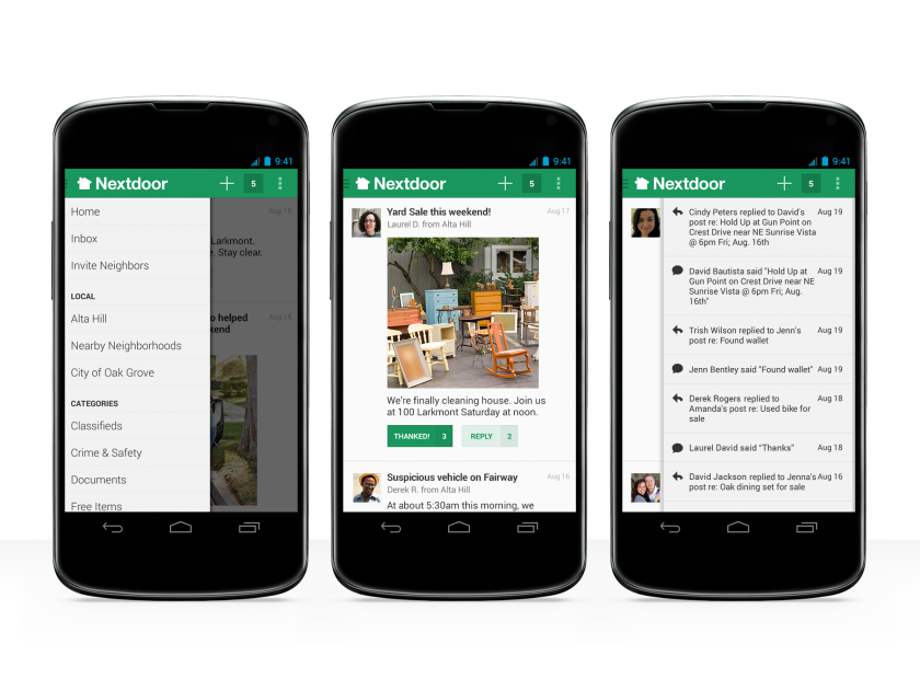 The Nextdoor app and website enable users to communicate with people who live nearby.