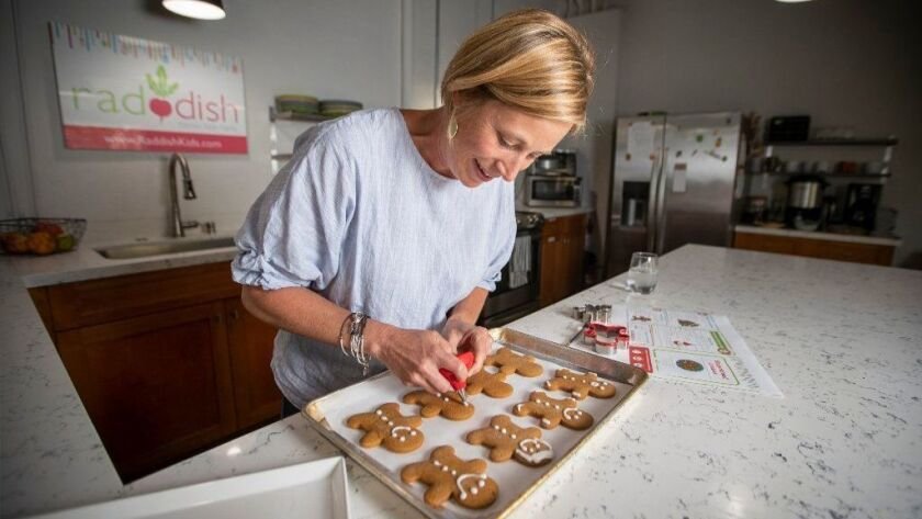 Samantha Barnes, co-founder and chief executive of Raddish, in her test kitchen. Raddish is a monthly subscription service kit that teaches children culinary skills and the history, culture and nutritional benefits of the foods.