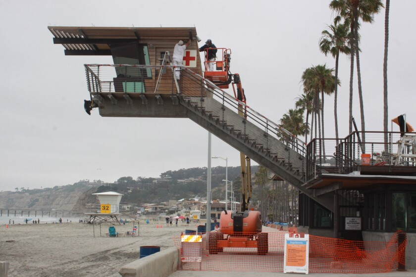 La Jolla Shores lifeguard tower undergoes maintenance to its exterior. Photo taken June 6.
