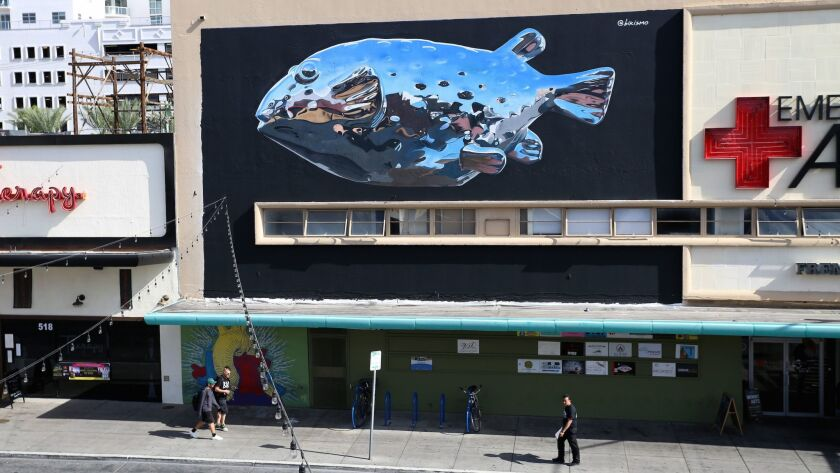 Bikismo, a Puerto Rican muralist, uses only spray paint to create detailed works of art that can be viewed across the globe, from Jerusalem to Japan. This mural is in the 500 block of Fremont Street in downtown Las Vegas.