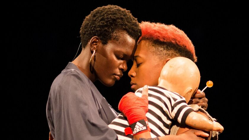 "Sheila Atim, left, and Jade Anouka in ""Henry IV"", part of the Donmar Warehouse ""Shakespeare Trilogy"" in London."