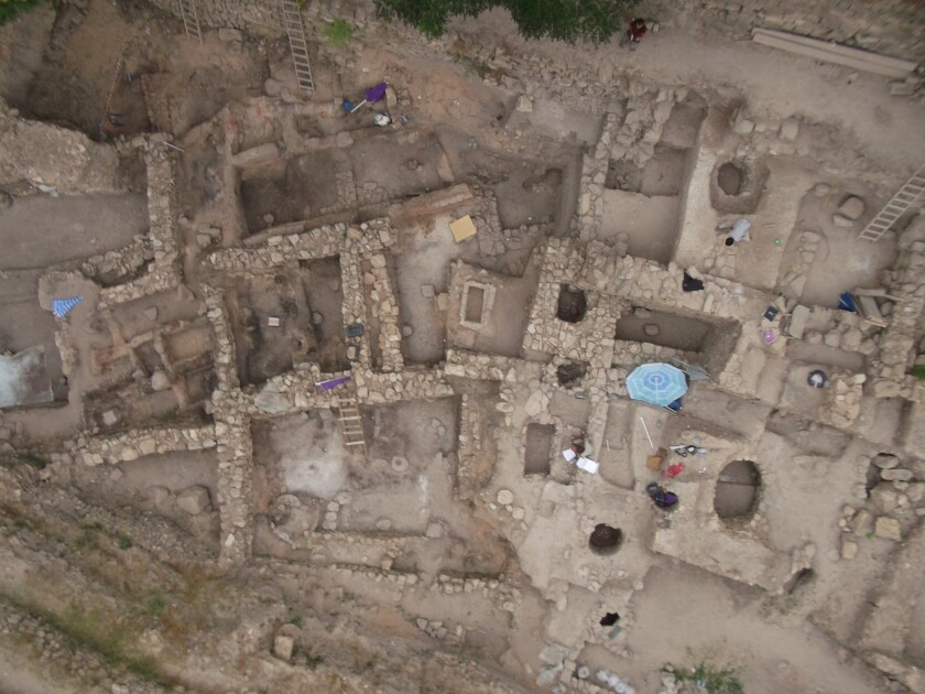 An aerial view of the Sidon excavation site.