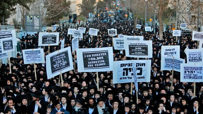 Ultra-Orthodox Jews take part in a March 28, 2017, protest in Jerusalem against Israeli army conscription.
