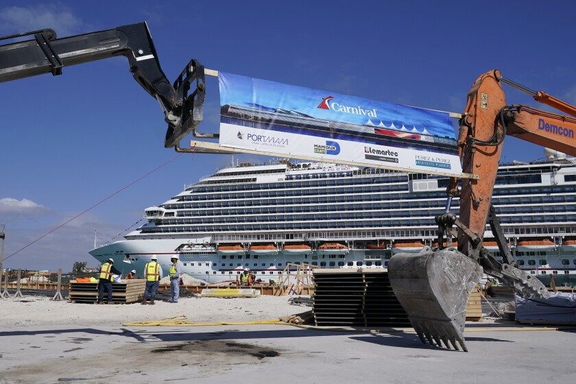 Construction proceeds on Carnival Cruise Line's new terminal in Miami.