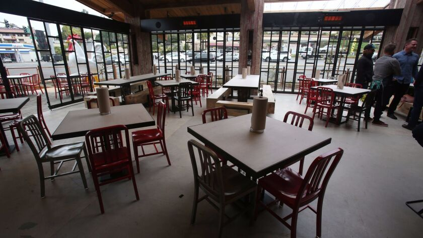 The dining room of The Crack Shack in Encinitas, which opens to the public on Feb. 13.
