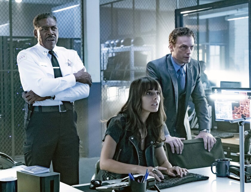 "Ernie Hudson, left, Caitlin Stacey and Justin Kirk in ""APB,"" premiering Feb. 6 on Fox."