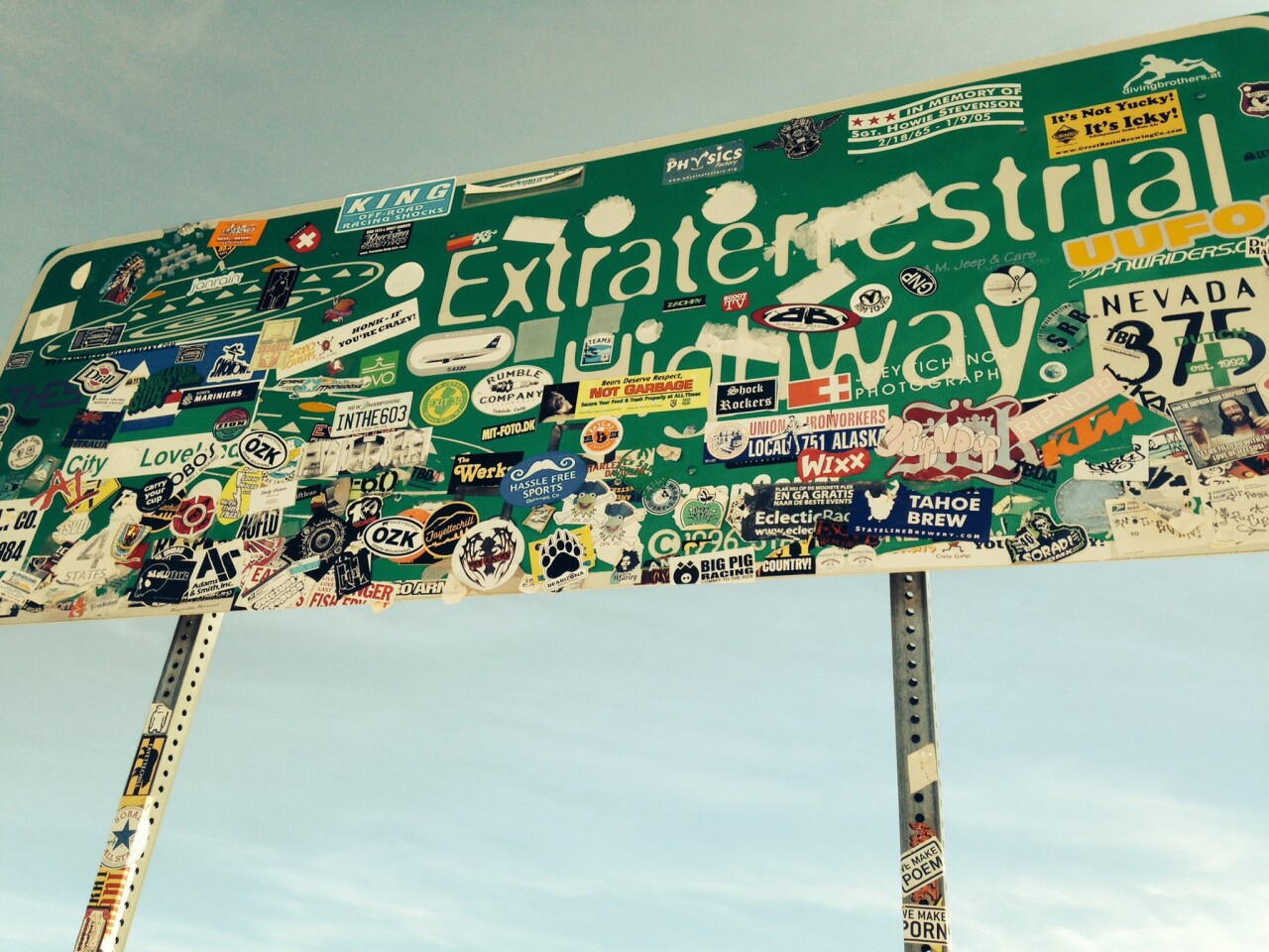 Respect for the purity of public property apparently is alien at this Extraterrestrial Highway sign in central Nevada.