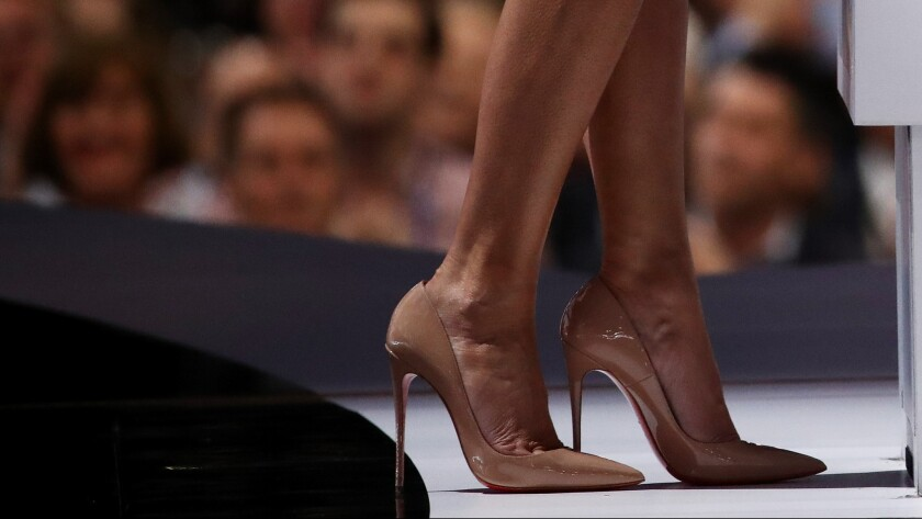 A detail shot of Melania Trump's Christian Louboutin stilettos with nearly 5-inch heels.
