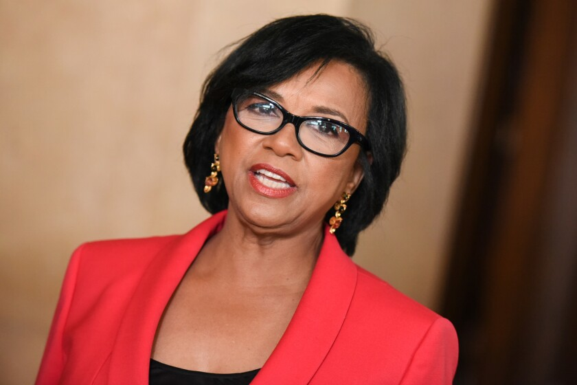 Academy of Motion Picture Arts and Sciences President Cheryl Boone Isaacs arrives at the ICG Publicists Awards in Beverly Hills on Feb. 20, 2015.
