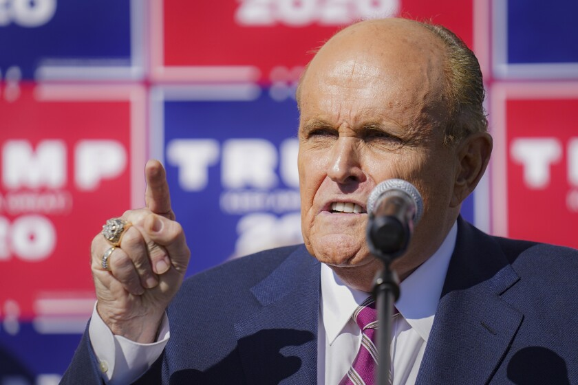 Former New York mayor Rudolph W. Giuliani, a lawyer for President Trump, speaks during a news conference Nov. 7.