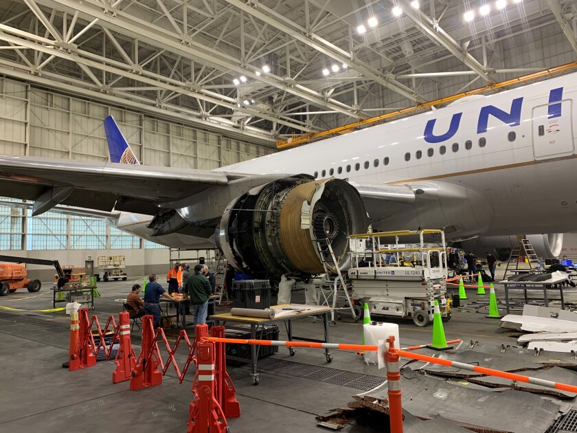 The United Airlines Boeing 777 plane whose right engine failed Saturday