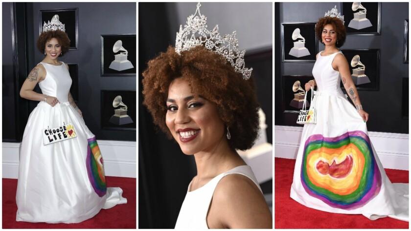 Recording artist Joy Villa arrives at the 60th Grammy Awards at Madison Square Garden in New York.