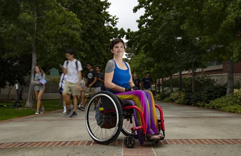 Kat Kath, a computer programmer at UCLA, uses a wheelchair to get around campus.