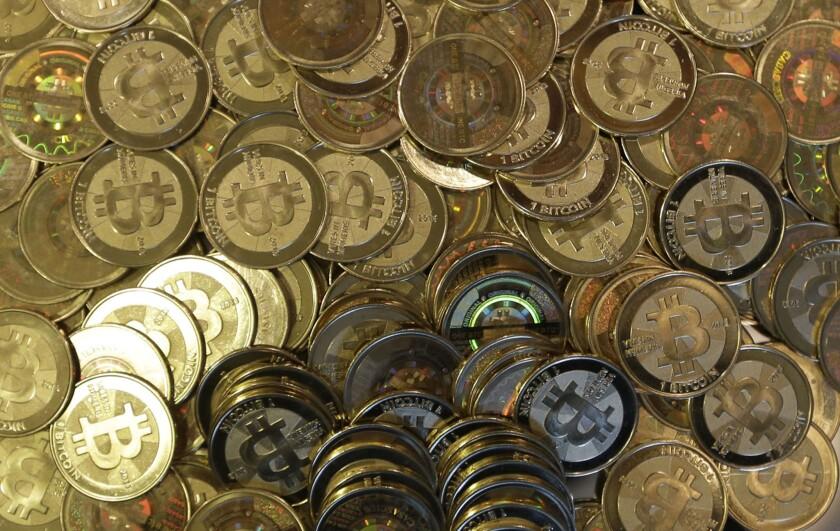 Bitcoin tokens, seem in Sandy, Utah.