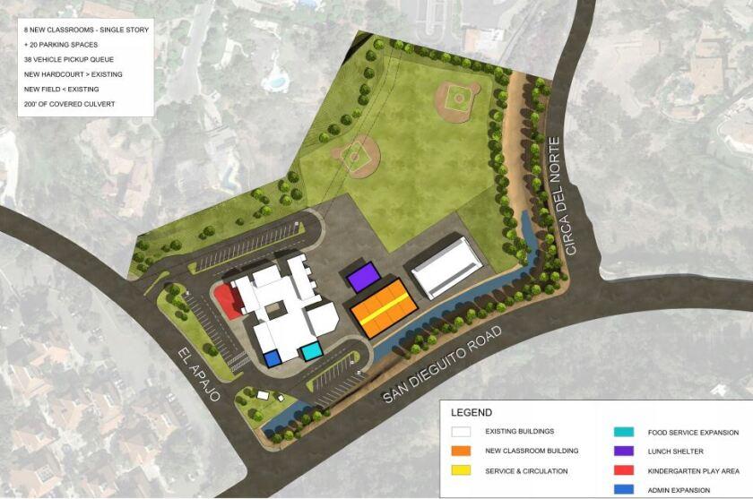 A proposed single-story layout for the Solana Santa Fe modernization.