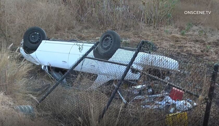 Car overturned in ditch