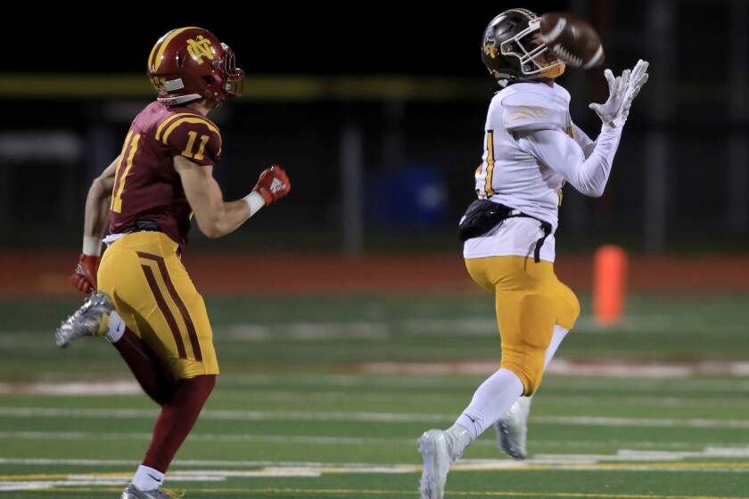 Jacob Gathright hauls in a 78-yard touchdown pass for El Camino.