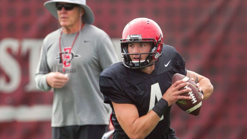 SAN DIEGO, August 15, 2017   As coach Rocky Long watches, Aztecs' quarterback Chris Laviano looks to