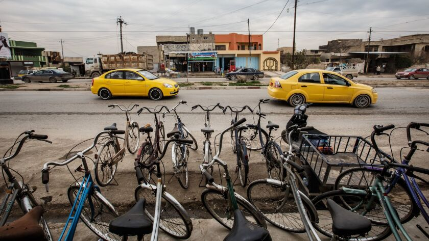 Bicycles for sale at Mohammed Sabah Yehia's store in east Mosul, Iraq.
