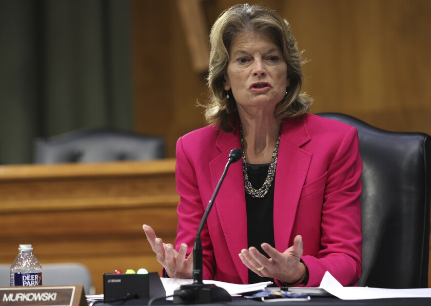 Sen. Lisa Murkowski (R-Alaska) speaks during a virtual Senate committee hearing Tuesday in Washington.