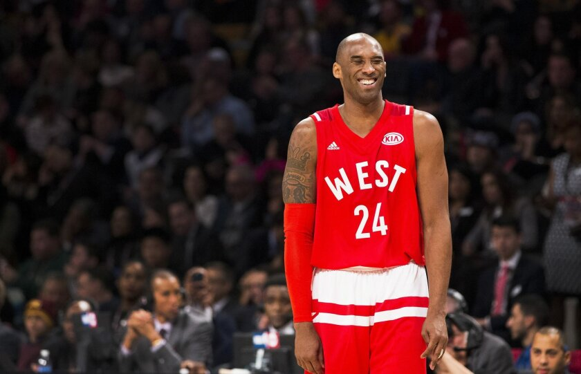 Western Conference's Kobe Bryant, of the Los Angeles Lakers, (24) reacts during first half NBA All-Star basketball action in Toronto on Sunday, Feb. 14, 2016. (Mark Blinch/The Canadian Press via AP)