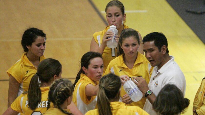 Coach Eric Sato has guided the Francis Parker girls volleyball team to two state titles. U-T file ph