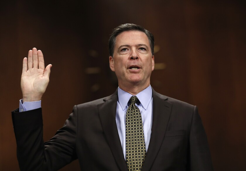 FBI Director James Comey is sworn in on Capitol Hill in Washington on May 3, 2017, prior to testifying before the Senate Judiciary Committee hearing.