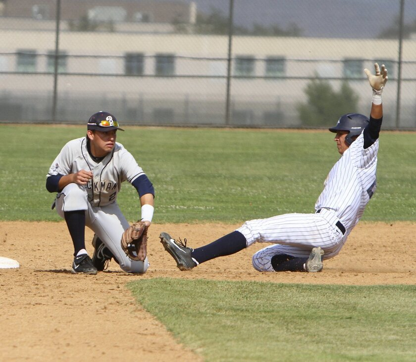 Photo by www.andrewfoulkphotography.com Vista Murrieta's .Ian Nowak, slides safe into second before Irvine Beckman's Michael Fuchs, can get the ball during the CIF Southern Section Division II first-round playoff game against Friday afternoon.