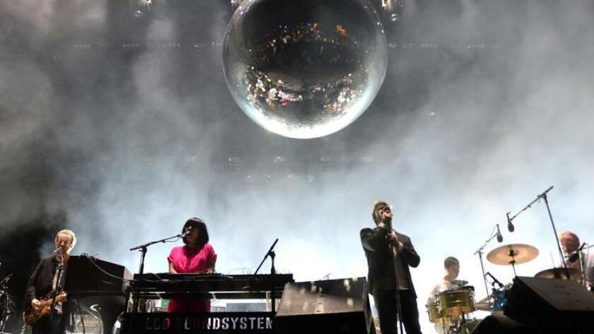 Recording artists Al Doyle, Nancy Whang, James Murphy, Pat Mahoney, and Tyler Pope of LCD Soundsystem perform onstage during day 1 of the 2016 Coachella Valley Music & Arts Festival Weekend 1 at the Empire Polo Club on April 15, 2016 in Indio, California. (Kevin Winter)