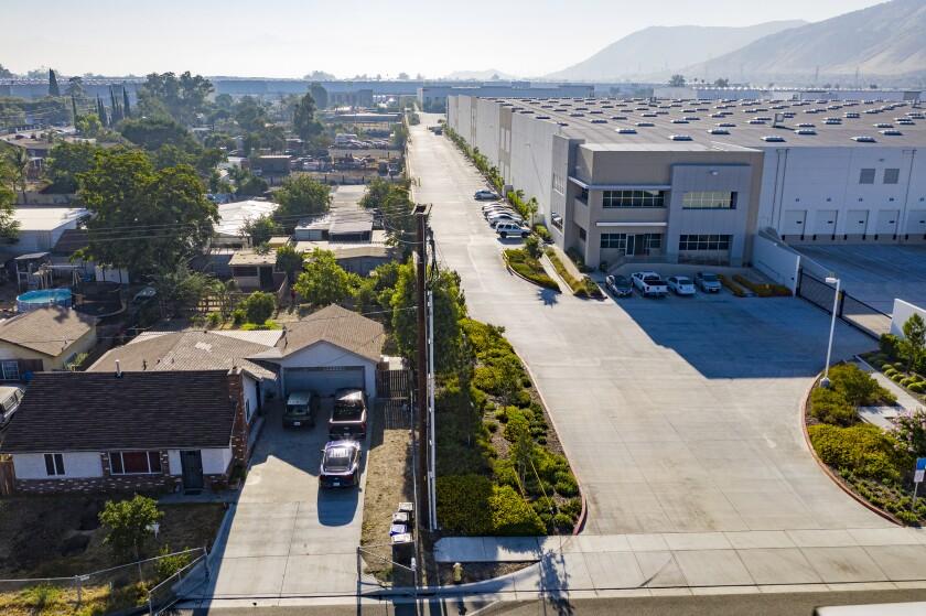 Warehouses near homes in Fontana.