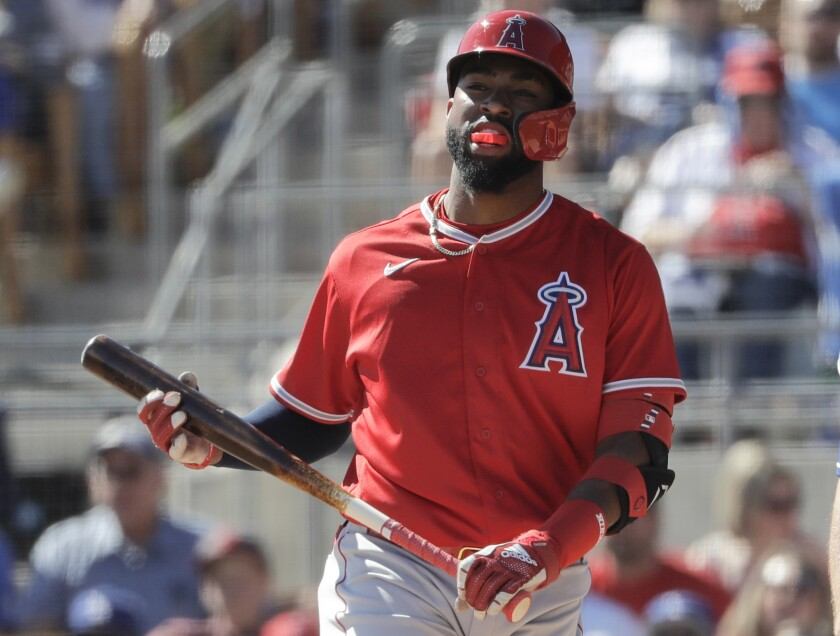Los Angeles Angels' Jo Adell during the third inning of a spring training baseball game against the Los Angeles Dodgers, Wednesday, Feb. 26, 2020, in Glendale, Ariz. Top prospect Jo Adell is joining the Angels, a baseball source with knowledge of the decision tells The Associated Press. The source spoke on condition of anonymity Monday, Aug. 3, 2020 because the Angels hadn't yet announced the transaction. (AP Photo/Gregory Bull)