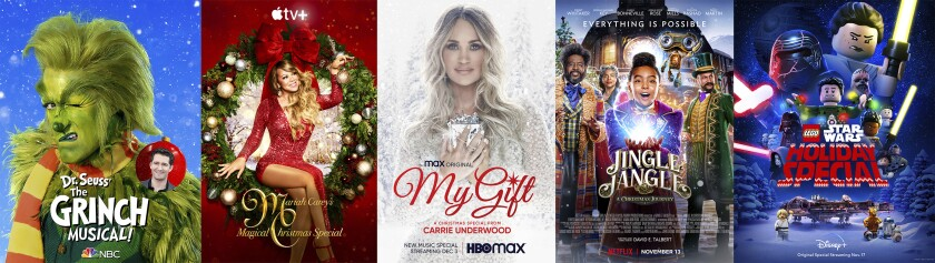 """This combination photo shows key art for holiday specials, from left, """"Dr. Seuss' The Grinch Musical,"""" airing Dec. 9 on NBC, """"Mariah Carey's Magical Christmas Special,"""" streaming Dec. 4 on Apple TV+, """"My Gift: A Christmas Special from Carrie Underwood,"""" premiering Thursday, Dec. 3 on HBO Max, """"Jingle Jangle: A Christmas Journey,"""" streaming on Netflix and """"Lego Star Wars Holiday Special,"""" streaming on Disney+. (NBC/Apple/HBO Max/Netflix/Disney + via AP)"""