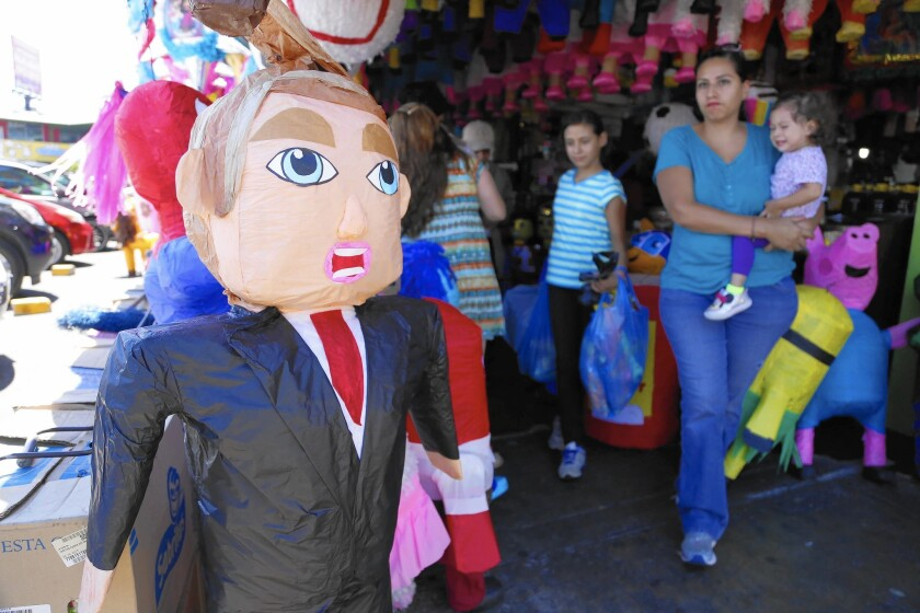 Donald Trump piñatas sell at Tijuana's Hidalgo Market for $12 to $18, depending on the quality and details.