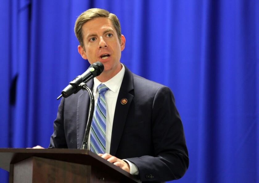 Rep. Mike Levin, photographed here during the MLK Day breakfast in Oceanside, is calling on Senate Majority Leader Mitch McConnell to hold votes in the Senate related to three bipartisan-backed veterans' bills.