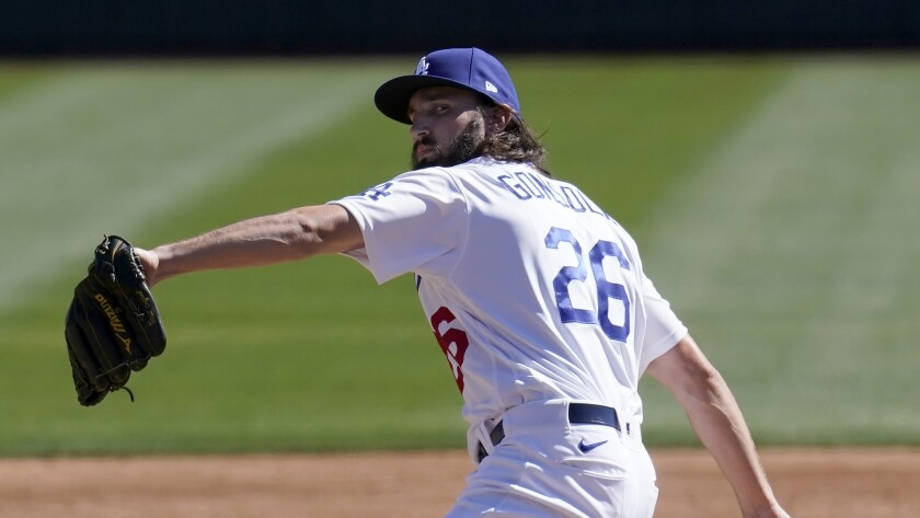 Dodgers pitcher Tony Gonsolin throws in a spring training game against the Colorado Rockies.
