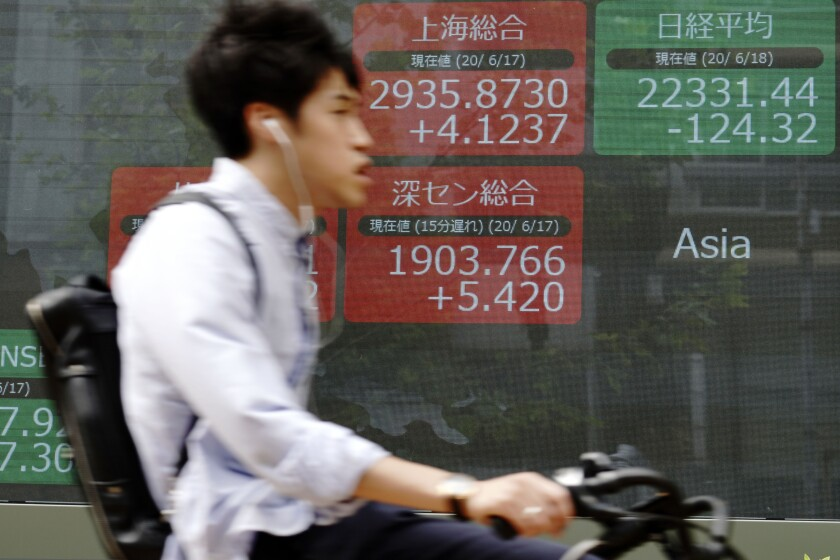 A man rides bicycle past an electronic stock board showing Japan's Nikkei 225 and other Asian index at a securities firm in Tokyo Thursday, June 18, 2020. Shares fell Thursday in Asia after another day of wobbly trading on Wall Street Wednesday, as markets ease off the accelerator following their big rally. (AP Photo/Eugene Hoshiko)