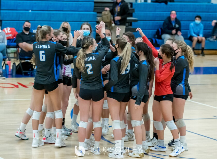 Ramona High's girls varsity volleyball team had a big win April 1 over Mt. Carmel High to finish 9-3 overall, 5-0 in League.