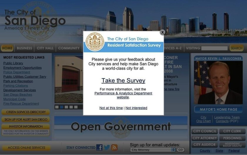 A screen shot of the Residential Satisfaction Survey pop-up