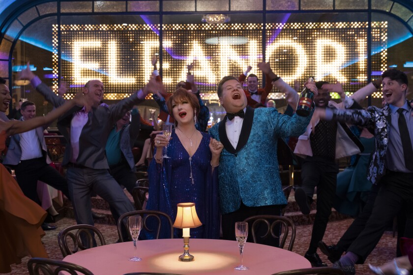 "Meryl Streep and James Corden as Broadway actors trying to salvage their careers in Netflix's ""The Prom."""